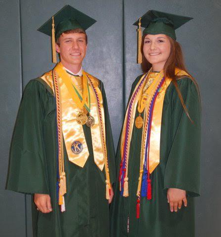 South Johnston Salutatorian Evan Parker and Valedictorian Carissa Margaret Womble.