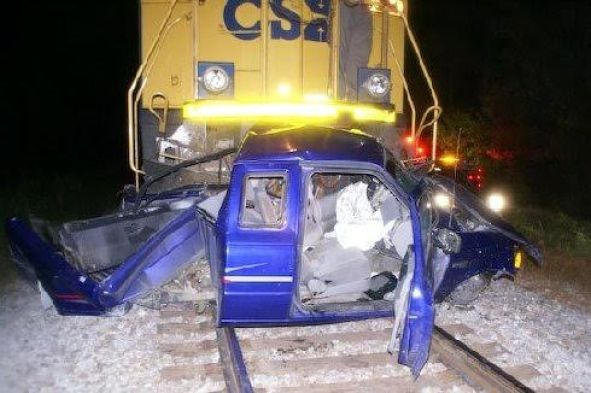 This truck was hit by a CSX train in Micro in October 2008. WTSB Photo