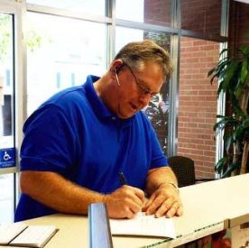 Steve Rabil files for the Smithfield Town Council Thursday afternoon at the Johnston County Board of Elections Office.