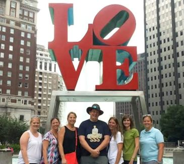 After a long day of training during the AVID Summer Institute (Aug. 26-29), Smithfield-Selma High School teachers Laura Chalfant, Kaye Pearce, JoEllen Holder, Richard Philips, Deanne Mertz, Sarah Barnhart, and Assistant Principal Sarah Reynolds spent their evenings in Philadelphia visiting the areas notorious sites such as Love Park.  Not pictured is Elliot Froehbrodt.