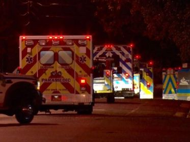 An ambulance strike team consisting of 7 ambulances from 6 counties including Johnston County EMS departed Saturday night for Bladen County for possibly deployment. The ambulances and their paramedic crews returned Monday night. Photo by John Payne