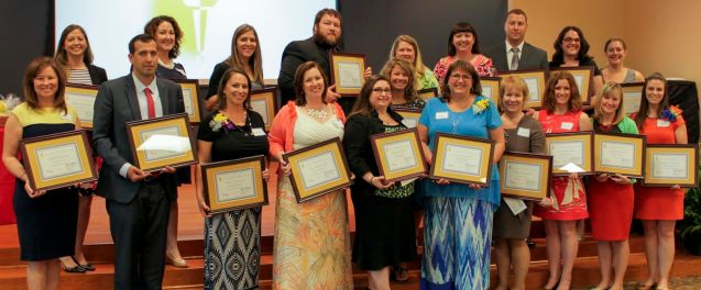 Flame for Learning semifinalists on the front row (from left) are Robin Hiatt - Powhatan Elementary, Jeffrey Henry - Cleveland Elementary, Heather Gibson - Polenta Elementary, Sarah Fitzgerald - Micro-Pine Level Elementary, Heather Earp - West Johnston High, Michelle Disney - Glendale-Kenly Elementary, Renee Souza - Corinth Holders High, Megan Chvatal - Smithfield-Selma High, Karin Chmelo - East Clayton Elementary, and Kristi Beasley - West View Elementary. On the back row are Kaye Pearce - Smithfield-Selma High, Kelly Nolan - Four Oaks Elementary, Jacqueline Mueller - Cleveland Elementary, Daniel Manzer - Clayton High, Amanda Turner - Clayton Middle, Melody Lineberger - West Johnston High, Nancy Kelly - Corinth-Holders Elementary, Brian Jones - Smithfield-Selma High, Christina Schaffer - Smithfield Middle, and Laura Hines - Corinth-Holders Elementary.