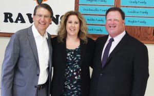 NC Governor Pat McCrory (left) stands with Riverwood Middle Principal Kerri Evans (center) and Johnston County Schools Superintendent Dr. Ross Renfrow (right).