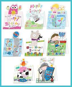 Children's Birthday Packs of 8 assorted greetings cards - £8.90