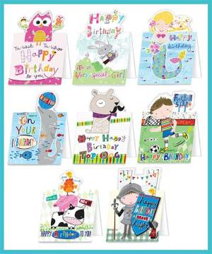 Children's Birthday Packs of 8 assorted greetings cards - £7.99