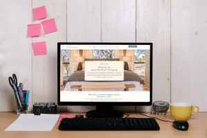 desk with vacation rental website example