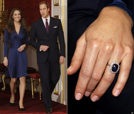 Arguably the most famous engagement ring in the world, worn by Kate Middleton