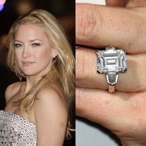 Kate Hudson's ring has tapered baguette diamond accent stones