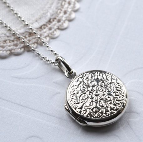 Silver Floral Locket by Martha Jackson
