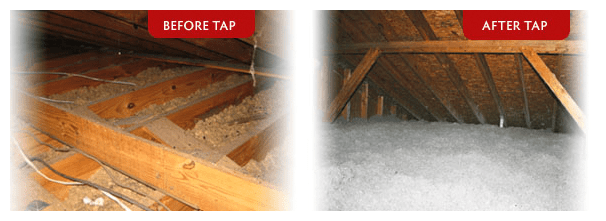 attic tap insulation before and after