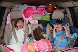 Kids in packed car