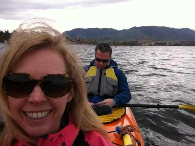 two people sea kayaking