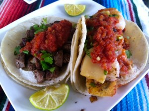 beef and shrimp tacos