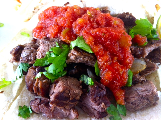beef taco with salsa