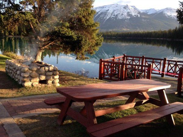 Picnic table at The Fairmont Jasper Park Lodge