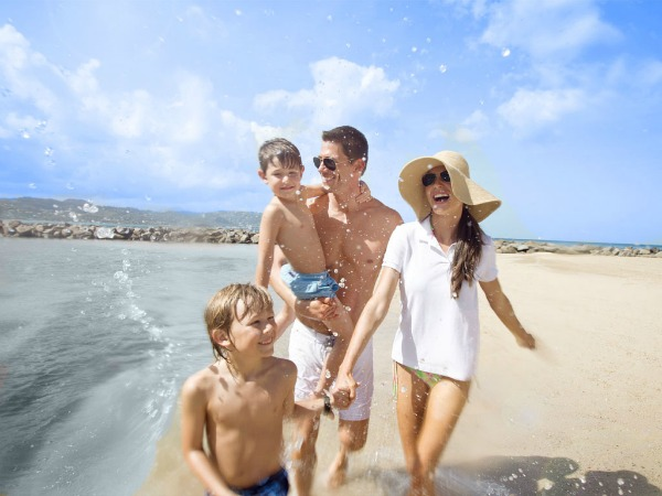 family of four beach vacation
