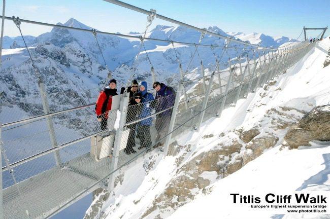 Suspension bridge in alps