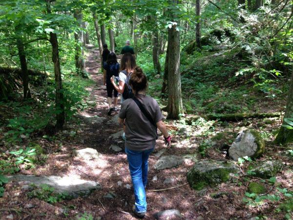 group hiking along path
