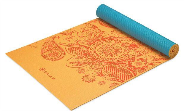 orange print yoga mat