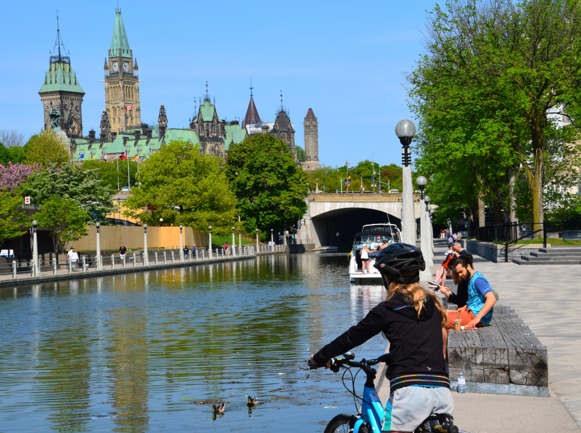 Girl on bike at Rideau Canal