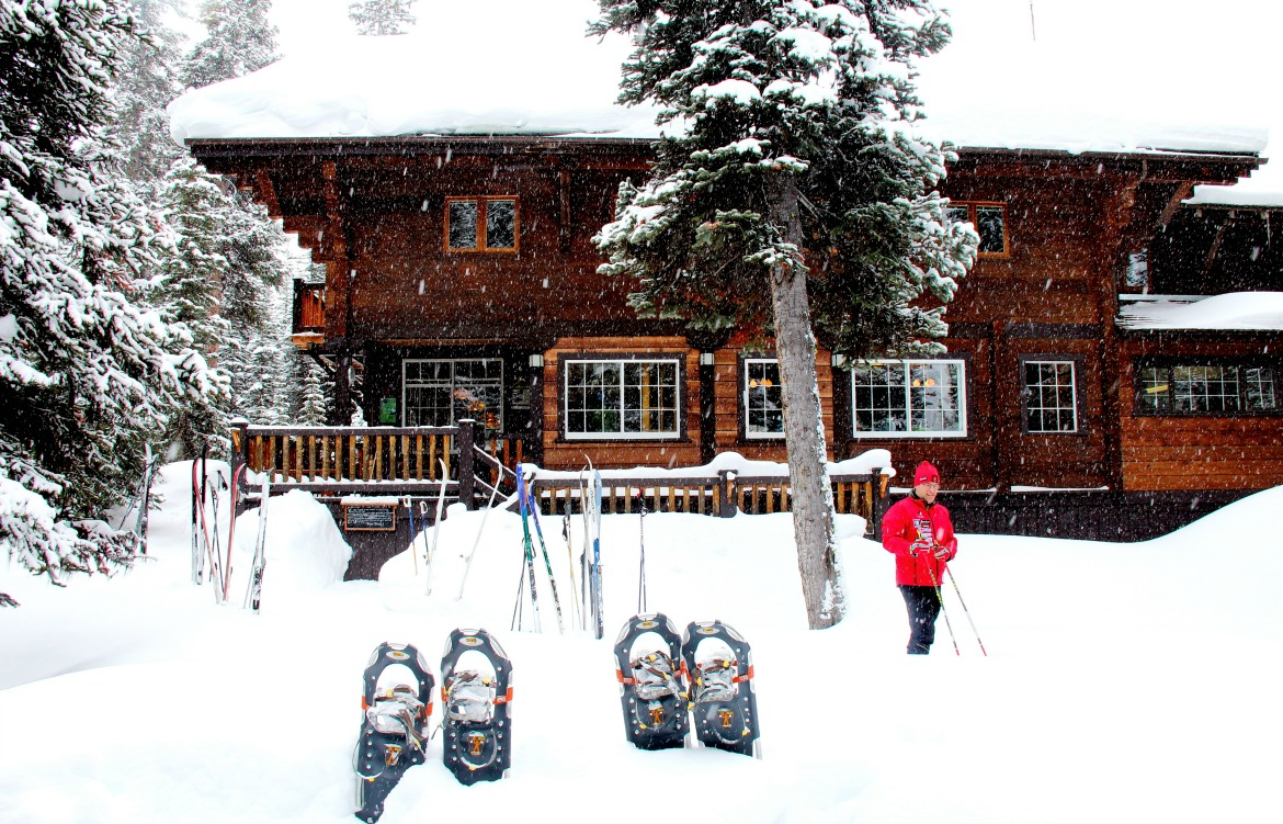 backcountry lodge snowshoes winter