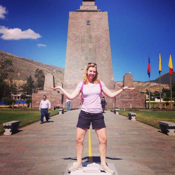 Woman at ecuador equator