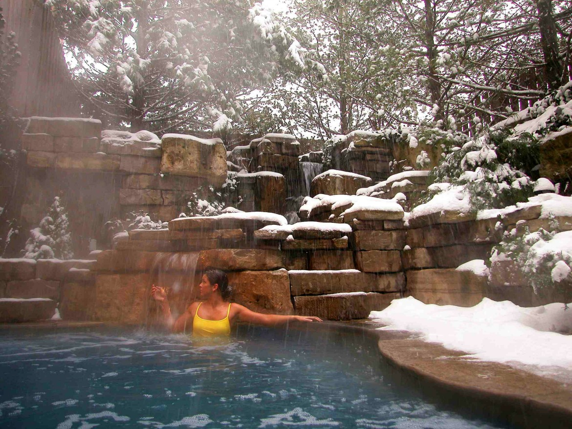 outdoor nature spa in winter