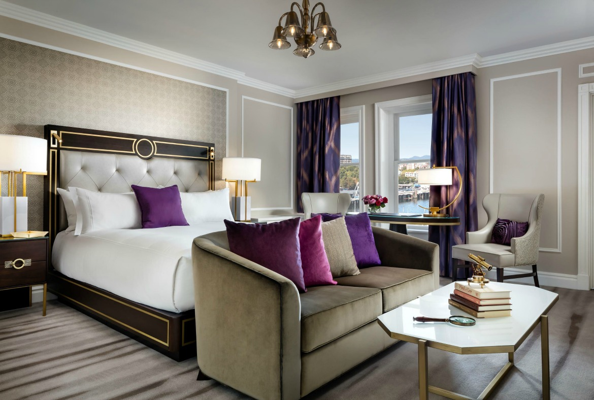 purple hotel guest room