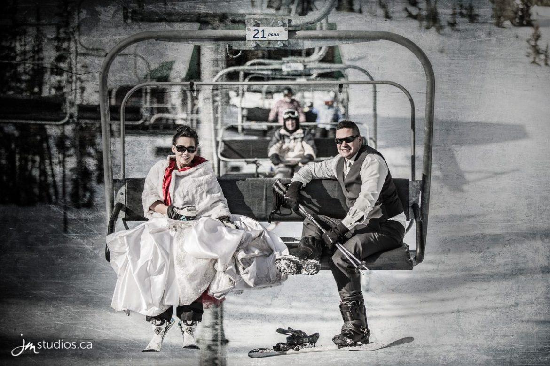 wedding couple on chair lift