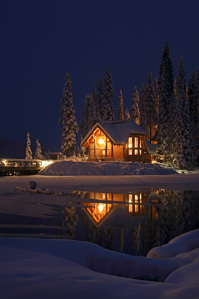 cozy cabin light up at night