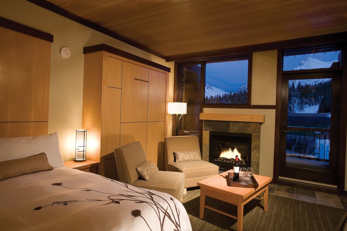 Inside Sunshine Mountain Lodge - the only ski in and ski out hotel in Banff