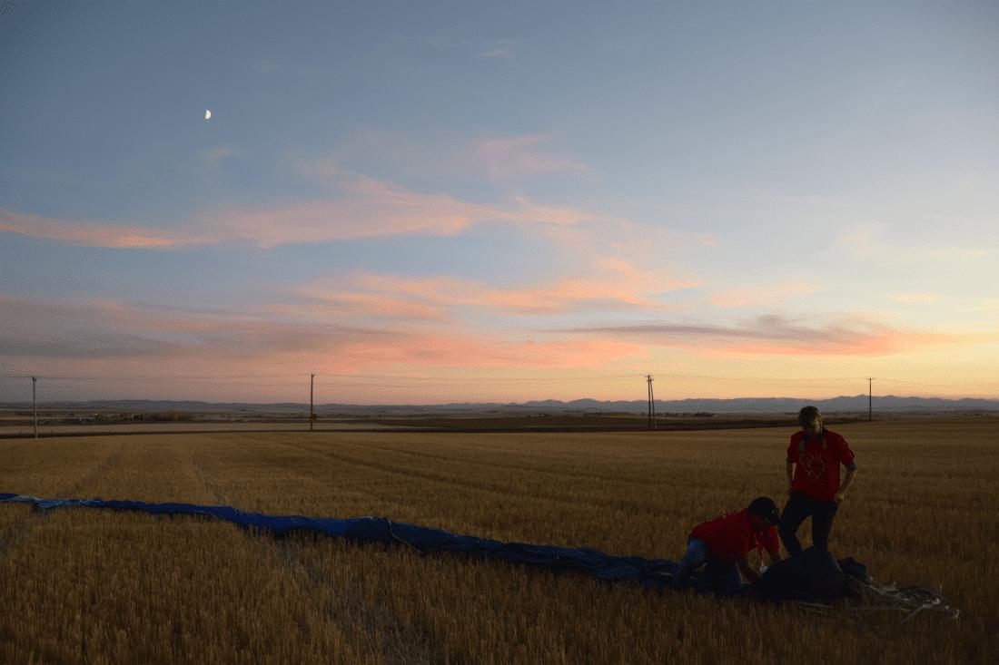 hot air balloon on Alberta prairie