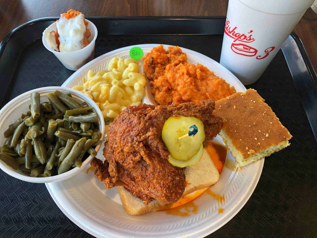 nashville hot chicken with southern sides