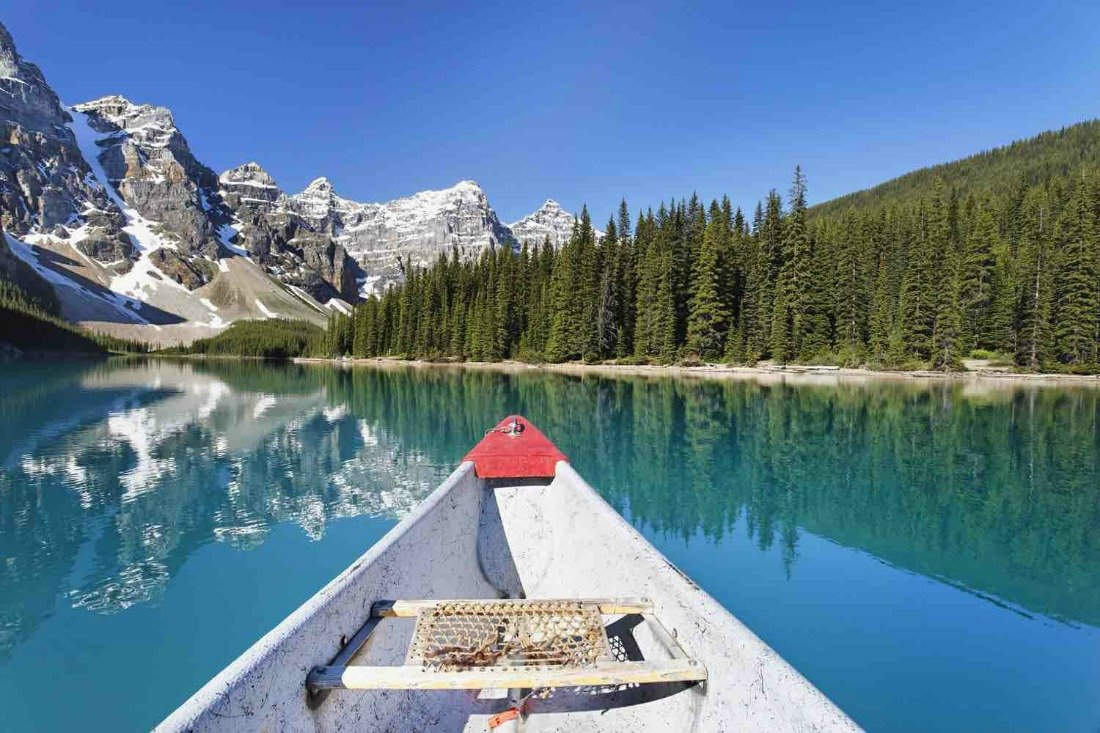 canoeing banff national park