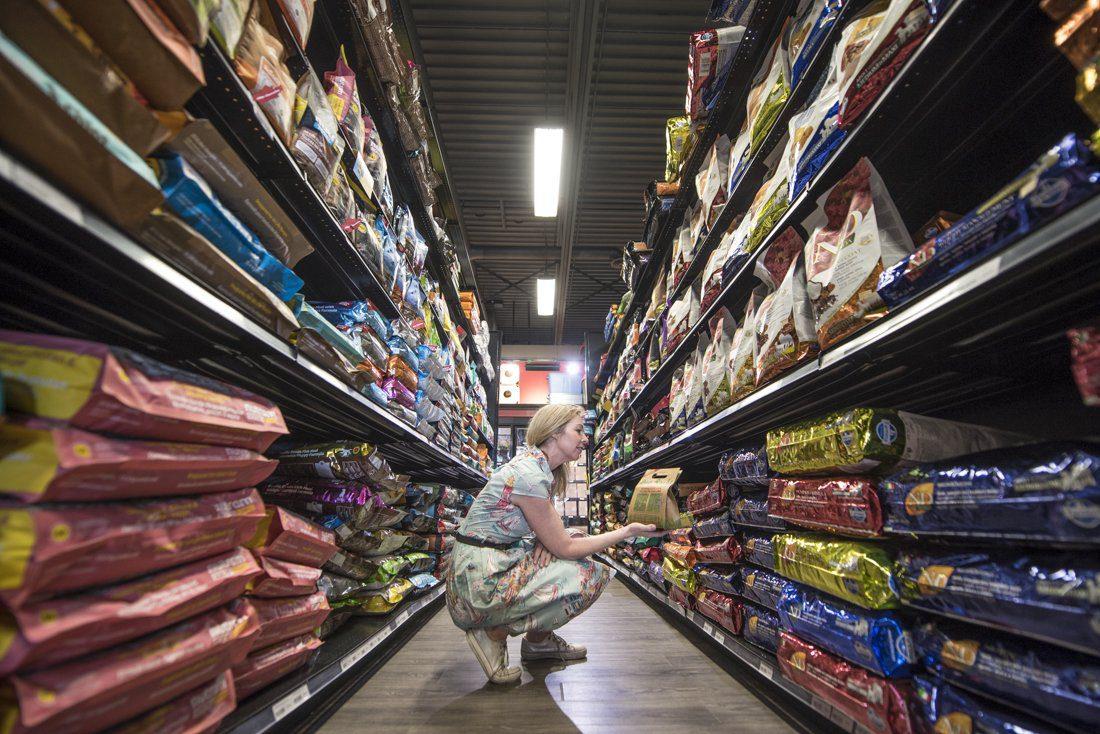 dog food aisle at pet store