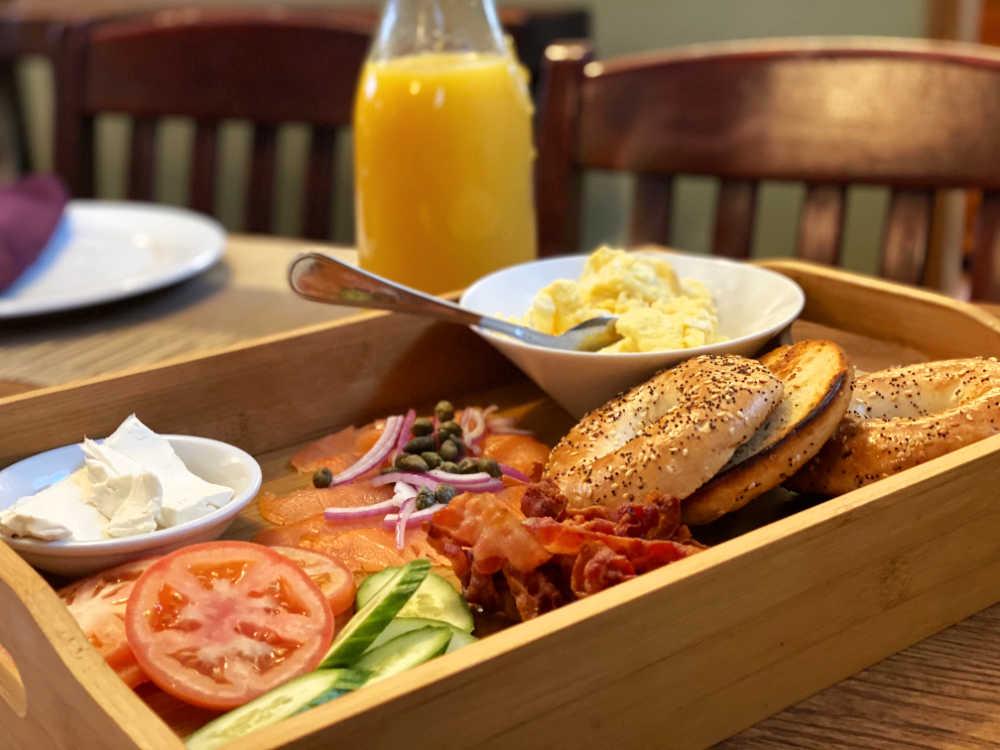 Bagel breakfast buffet