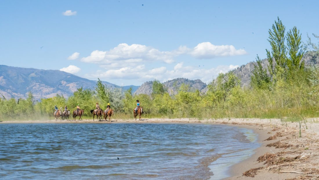 horseback riding by lake