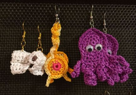 Toilet paper, Cat butt, and Octopus crocheted earrings