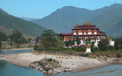 Bhutan, Pungtang Dechen Photrang Dzong en de rivieren Pho Chhu en Mo Chhu