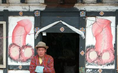 Bhutan, huisschilderingen ter bescherming tegen boze geesten
