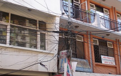 Stroomdraden in Kathmandu, Nepal, 2006