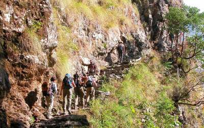 Onderweg tijdens Manaslu Trekking, Nepal, 2006
