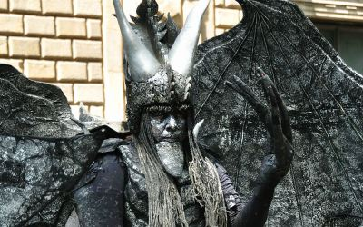 Barcelona, levend standbeeld op La Rambla