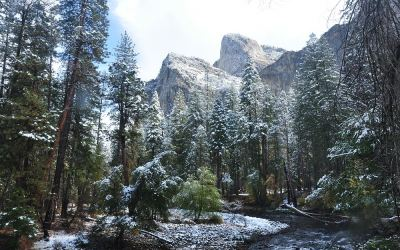 USA - Yosemite NP, Merced River en Cathedral Rock