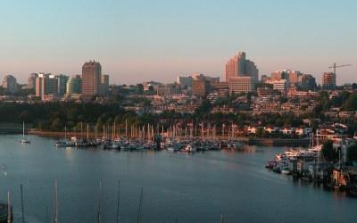 Vancouver bij ochtendgloren vanaf Burrard St, Canada, 2008