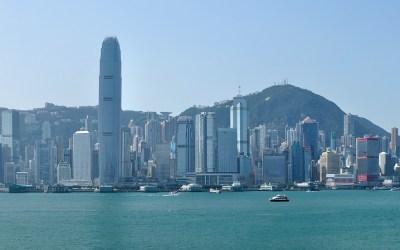 Hong Kong, skyline van Hong Kong Island gezien vanaf de zijde van Kowloon