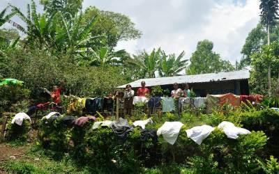 Huis aan de voet van Gunung Ranaka, Ruteng, Flores, Indonesië, 2012