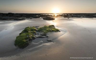 Zonsondergang bij strand van Audresselles, Opaalkust, Frankrijk, 3-5-2015