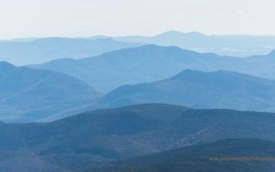 Uitzicht vanaf Mt Washington, atmosferisch perspectief, Mt Washington NH, 4-10-2015
