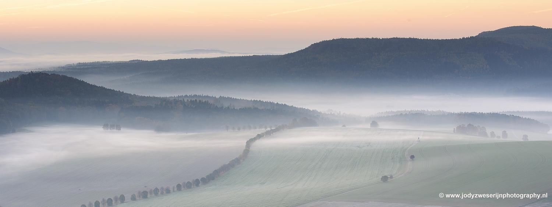 Uitzicht vanaf Papststein,Sächsische Schweiz, Duitsland, 22-10-2018
